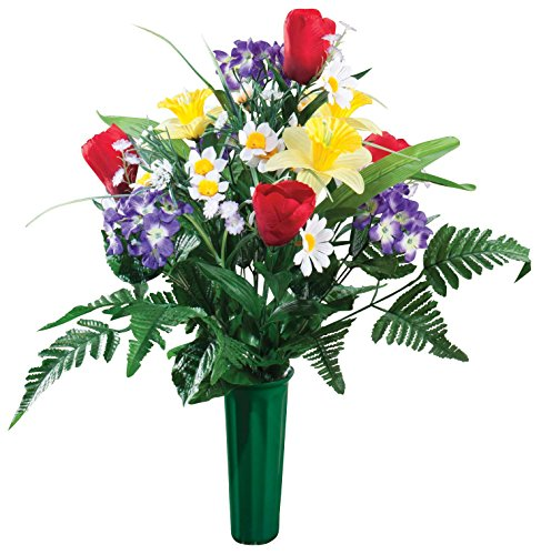 "OakRidge Bright Spring Memorial Bouquet Silk Floral Indoor/Outdoor Décor, 23"" High"
