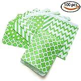 popcorn bags green - KIYOOMY 100 Pcs Candy Buffet Bags Small Paper Treat Bags (Lime Green, 5'' X 7'')