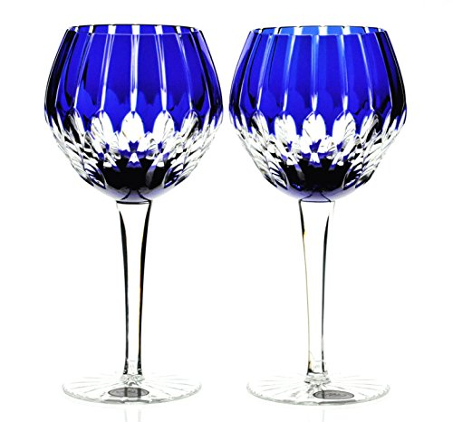 Ajka Castille Wine Balloon Goblets Cobalt Blue Cut to Clear Cased Crystal Pair Cobalt Blue Cased Cut