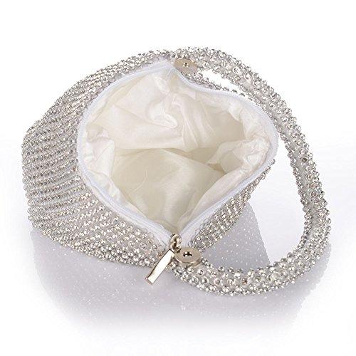 Jian Ya Na Fashion Women Rhinestone Trihedral Clutch Evening Bag Bling Zipper Wedding Purse (Silver) by Jian Ya Na (Image #6)