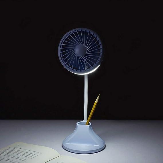 Dtuta Pequeño Ventilador con Fuente de alimentación lámpara de Mesa estéreo Soporte de lápiz multifunción de Alta ...
