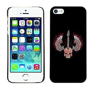 Qstar Arte & diseño plástico duro Fundas Cover Cubre Hard Case Cover para Apple iPhone 5 / iPhone 5S ( Skull Wings Guitar Rock Heavy Metal Music)