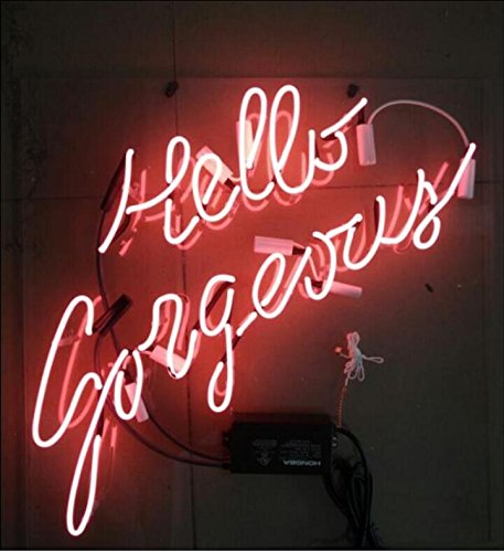 Mirsne Hello Here 17' by 14' Neon signs, glass tube neon open sign, custom made neon beer sign, unique neon sign art, supplied for a wide range of personal uses.