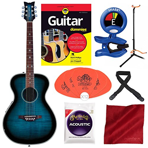 Daisy Rock DR6221-A-U Pixie Acoustic/Electric Guitar Blueberry Burst with Guitar for Dummies Starter Pack, Guitar Stand, Tuner, Pick, and Deluxe Bundle (Rock Guitar Picks Girls)