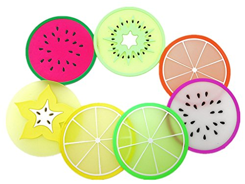 Kinteshun Silicon Drink Coaster,Heat-insulated Non Slip Fruit Slice Drink Cup Mat Placemat(7pcs with Different Fruit Slices)