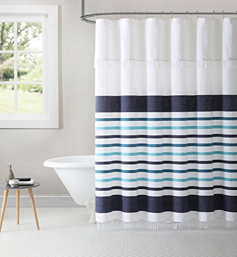 Inspired Surroundings Parker Stripe 100% Cotton Peshtemal Shower Curtain, 72