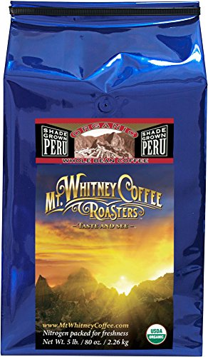 Organic Shade Grown Peru Medium Roast Coffee Whole Bean 5lb