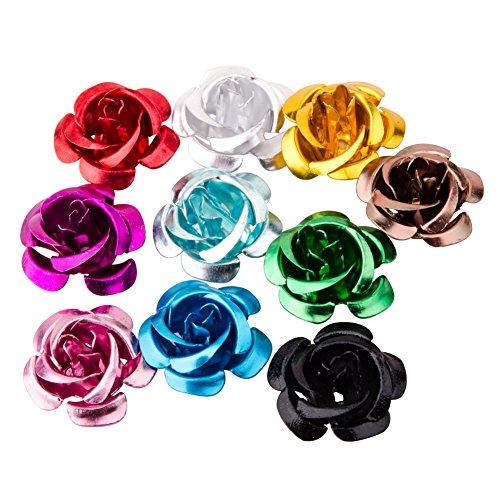 Pandahall 100pcs Aluminum Rose Flower, Tiny Metal Beads, Mixed Color, 15x9mm, Hole: 1mm