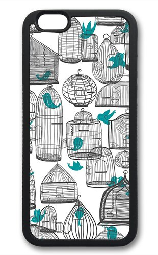 Coque silicone BUMPER souple IPHONE 6 Plus - Bird oiseau vintage motif 4 DESIGN case+ Film de protection OFFERT