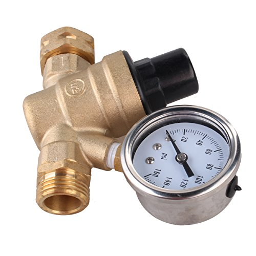 water pressure regulator brass lead free adjustable rv water pressure reducer with guage by. Black Bedroom Furniture Sets. Home Design Ideas