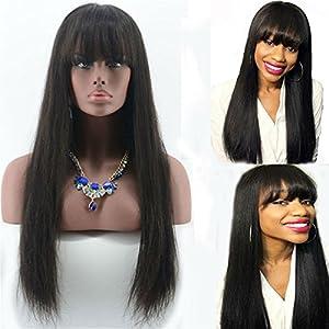 Aliceprincess Long Silky Straight Human Hair Wig With Bangs Glueless Full Lace wig Natural Black Human Hair Brazilian Virgin Hair Wig