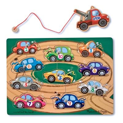 Melissa & Doug Deluxe 10-Piece Magnetic Towing Game