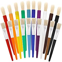 US Art Supply 20 Piece Large Round and Large Flat Hog Bristle Children's Tempera Paint Brushes