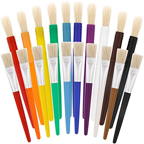 US Art Supply 20 Piece Large Round and Large Flat Hog Bristle Children's Tempera Paint - 2 Us Year