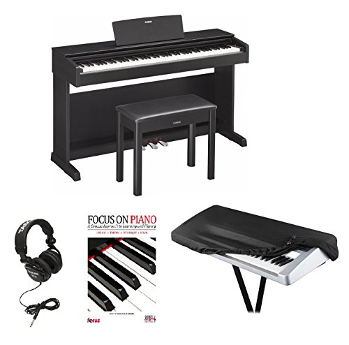 Yamaha YDP143B Black Walnut Digital Piano with Bench, Knox Dust Cover, Headphones & Book