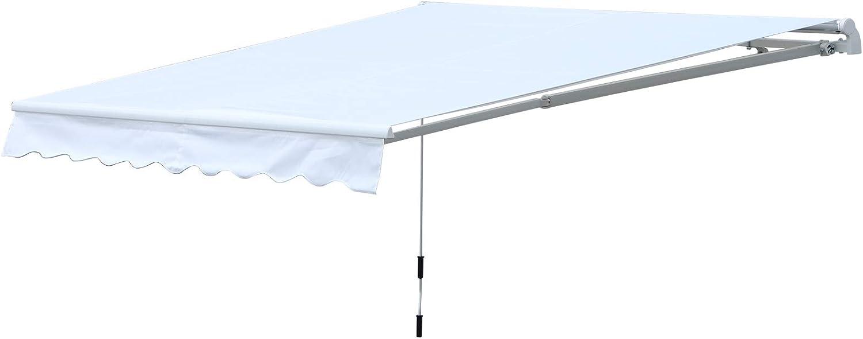 Outsunny Toldo de Pared Enrollable de Exterior con Manivela Manual Protección Solar UV Resistente al Agua