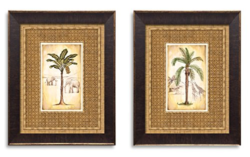 Lovely Tropical Palm Trees and Safari Elephant and Giraffe Set; Two 11x14in Gold Brown Framed Prints; Ready to hang! (The border is part of print)