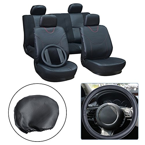 OCPTY Car Seat Cover, Stretchy Universal Seat Cushion w/Headrest Cover/Steering Wheel/Shoulder Pads Breathable Automotive Accessories Semi-PU Leather Polyester for Most -