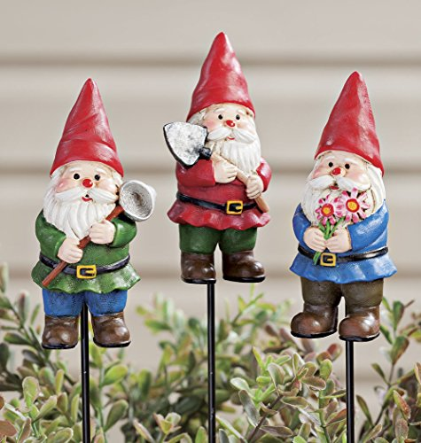 miles-kimball-set-of-3-maple-lane-creations-outdoor-gnome-planter-stakes-decorative-hand-painted-multicolored-yard-stakes-ideal-for-yard-flower-pot-window-boxes-or-garden-resinmetal