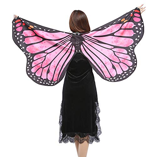POQOQ Butterfly Wings for Women, Butterfly Shawl Fairy Ladies Cape Nymph Pixie Costume Accessory 14770CM Hot Pink -