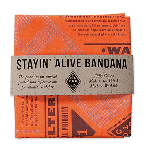 Colter Co. Reflective Survival Bandana, High Visibility for Camping, Hiking, Hunting, Backpacking | 100% Cotton, Made in The USA (Stayin' Alive)