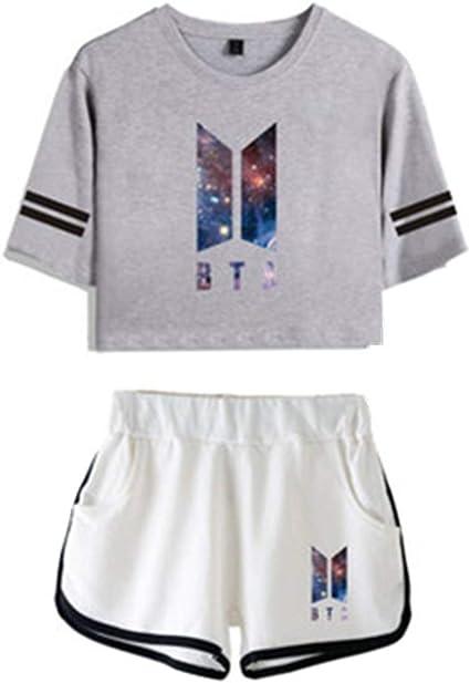 Casual Estivo Due Pezzi Set di Pantaloncini t-Shirt Manica Corta Stampa Cielo Stellato Completo Sportivo da Donna//Ragazza BTS