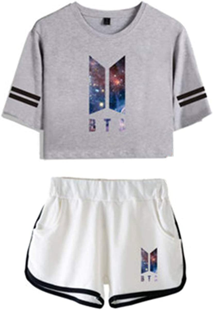 Casual Estivo Due Pezzi Miyapy Completo Sportivo da Donna//Ragazza BTS Set di Pantaloncini t-Shirt Manica Corta Stampa Cielo Stellato