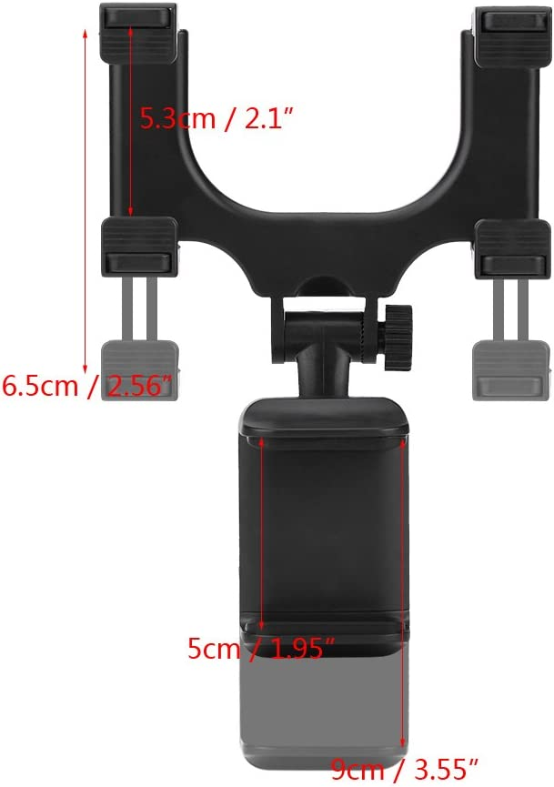 Rear View Mirror Mount Universal Car Rearview Mirror Stand Grip Clip 360/°Swivel Mobile Phone Holder Cradle Truck Auto Bracket for iPhone Samsung HTC GPS Smartphone