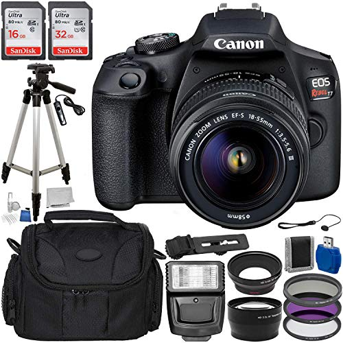 Canon EOS Rebel T7 DSLR Camera with 18-55mm DC III Lens Accessory Bundle: Includes – 16GB + 32GB Ultra SanDisk Memory Cards, 50″ Professional Tripod, Carrying Bag, 3pcs Filter Kit, and More