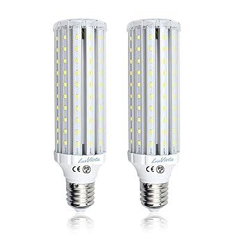LuxVista 2-Unidades E40 45W LED Bombilla de Luz Fría 6000K Luz de Maíz Con