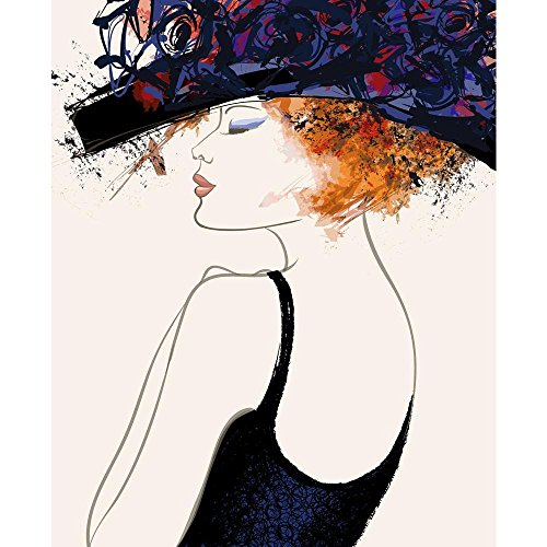 PB Woman Fashion Model With Hat Unframed Canvas Painting