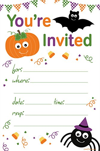 Halloween Themed Child Party Invitations - Fill In Style (20 Count) With Envelopes by m&h invites -