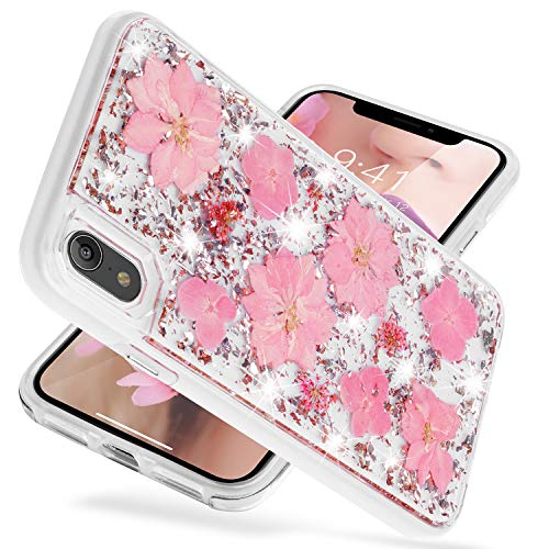 iPhone Xr Case,SQMCase Glitter Bling Luxury [Dried Real Flower Silver Foil Embedded] Hybrid Flexible TPU Bumper with Hard Plastic Back 2 in 1 Protective Shock-Absorbing Case for iPhone Xr-Shiny Pink]()