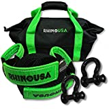Rhino USA Combo D Ring Shackles & 30' Tow Strap (41,850lb Break Strength) - Shackle for Vehicle Recovery, Hauling, Stump Removal & Much More - Best Offroad Towing Accessory for Jeeps & Trucks!…
