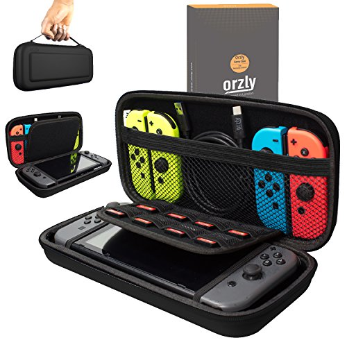 Video Games : Orzly Carry Case Compatible With Nintendo Switch - BLACK Protective Hard Portable Travel Carry Case Shell Pouch for Nintendo Switch Console & Accessories