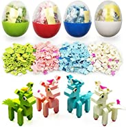 QINGQIU 4 Pack Unique Unicorn Building Blocks Toys in Plastic Easter Eggs for Kids Boys Girls Easter Basket Stuffers Fillers