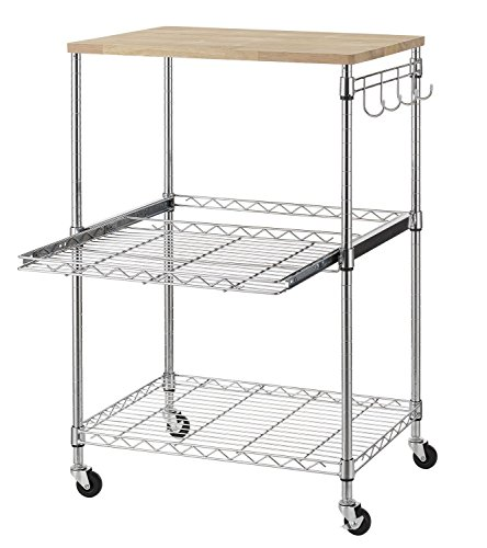 Adjustable Kitchen Cart - Finnhomy 3-Tier Wire Rolling Kitchen Cart, Food Service Cart, Microwave Stand, Oak Cutting Board and Chrome