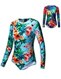 Axesea Women Long Sleeve Rash Guard UV UPF 50+ Sun Protection One Piece Swimsuit Printed Back Zipper Surfing Shirt US 6