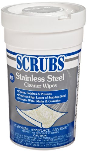 SCRUBS 91930 Stainless Steel Cleaner Towels, 9 3/4 x 10 1/2, 30 Wipes Per Canister