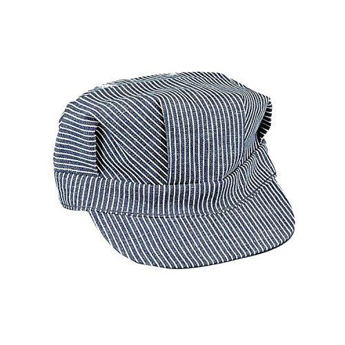 Jacobson Hat Company Adult Engineer Hat,Blue/White,Medium (adjustable size fits most) - Adult Train Engineer Hat
