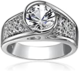 Sterling-Silver-Created-White-Sapphire-Engagement-Ring-Size-7
