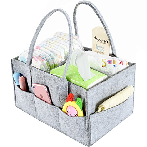 Baby Diaper Caddy Organizer By Brolex: Large Capacity Nursery Organizer For Boys Girls– Unisex Portable Travel Organizing Basket With Lightweight, Sturdy & Versatile Design,Grey (Diaper Gift Baskets)