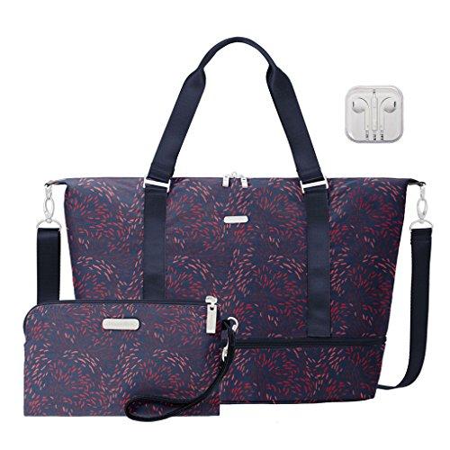 Baggallini Expandable Carry On Duffle Travel Handbag Bundle with complimentary Travel Earphones (Firework Print)
