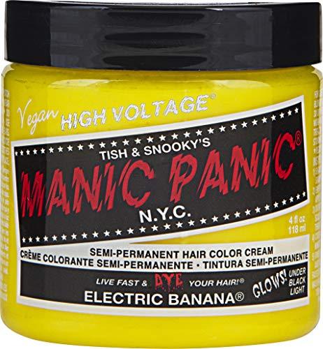 Manic Panic Electric Banana Yellow Hair Color Cream, Classic High Voltage Semi-Permanent Hair Dye - Vivid, Yellow Shade For Dark, Light Hair – Vegan, PPD & Ammonia-Free - Ready-to-Use, No-Mix -
