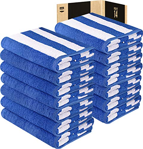 Utopia Towels 14 Pack Beach Towels Oversized 35x70 Inches - Cabana Stripe Large Pool Towels - Extra Large Bath Sheet, Blue -