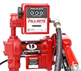 Fill-Rite FR2411GELA 24V DC Pump, Suction Pipe, 3/4''x12' Hose, 3/4'' Automatic Nozzle, 807CL Meter Liter -All NPT Threads