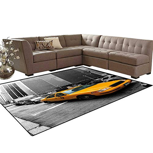 Black Opal Cab - City Door Mats Area Rug Yellow Cab in New York City Touristic Attractions Traffic Road Photography Anti-Skid Area Rugs 6'x9' Marigold Grey Black
