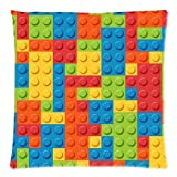 Funny Lego Bricks / Blocks Kids Square Decorative Throw Pillow Case Cushion Cover - Twin sides Printing - Pillowcase 18x18 Inch