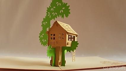 Casa en el árbol 3d Pop Up Tarjetas de felicitación aniversario ...