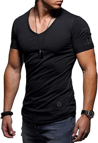 MorwebVeo Athletic Men Shirts Fashion Slim Fit Zipper